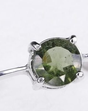 Round Shape Moldavite In Sterling Silver Ring (1.8grams) Ring Size: 60 (USA 9 3/8) 1