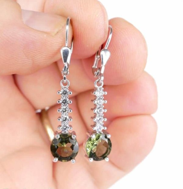 Round Cut Moldavite With Cubic Zirconia In Sterling Silver Dangle Earrings (3.4grams) 1