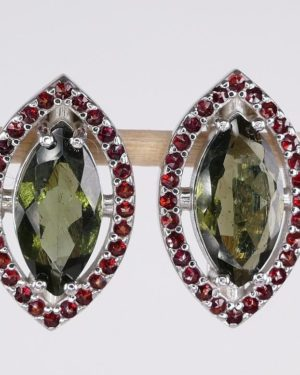 Marquise Cut Moldavite With Garnets Sterling Silver Earrings (4.9grams) 1