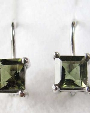 Excellent Square Moldavite In Sterling Silver Earrings (1.8grams) 1