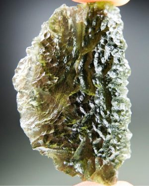 Quality A+ Glossy Olive Green Moldavite With Certificate Of Authenticity (9.85grams) 1