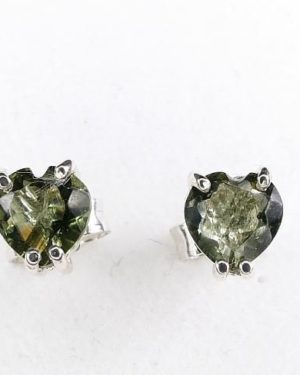 Heart Shape Moldavite In Sterling Silver Stud Earrings (0.8grams) 1