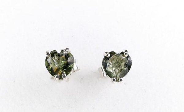 Heart Shape Moldavite In Sterling Silver Stud Earrings (0.8grams) 1