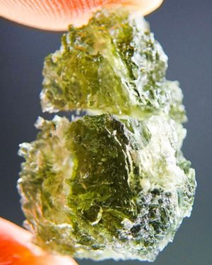 Bottle Green Raw Moldavite With Visible Lechatelierite Needles (1.98grams) 1