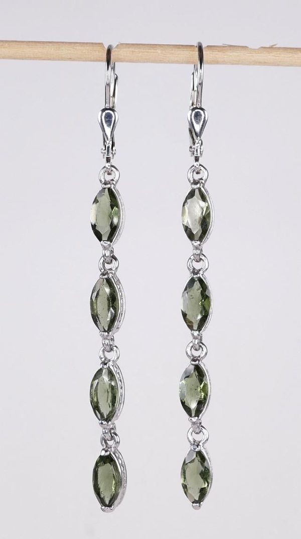 Four Beautiful Moldavite In Marquise Sterling Silver Earrings (4.0grams) 1