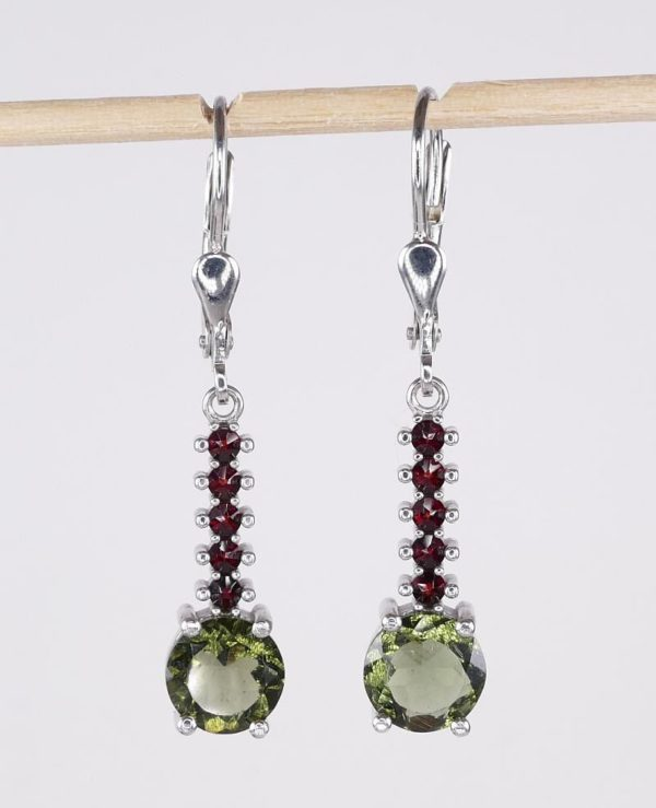 Round Cut Moldavite With Garnets Sterling Silver Earrings (3.3grams) 1