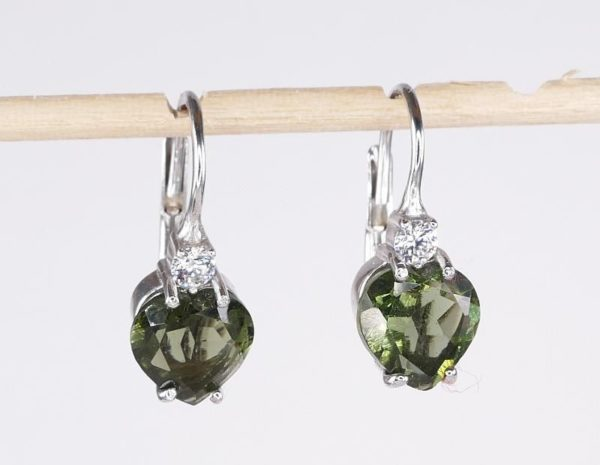 Beautiful Heart Cut Moldavite With Zirconia Sterling Silver Earrings (2.0grams) 1