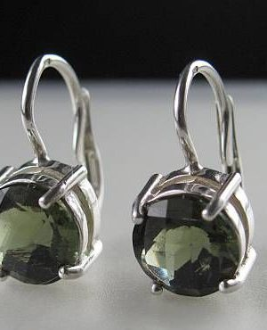 Elegant Raw Round Cut Moldavite In Sterling Silver Earrings (2.5grams) 1