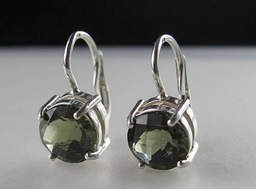 Elegant Raw Round Cut Moldavite In Sterling Silver Earrings (2.5grams) 1