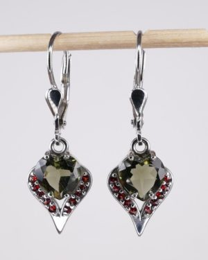 Elegant Heart Cut Moldavite With Garnet Sterling Silver Earrings (3.0grams) 1