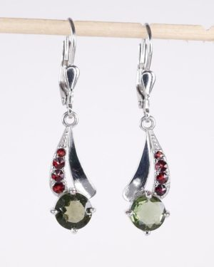 Round Cut Moldavite With Garnet Sterling Silver Earrings (3.3grams) 1