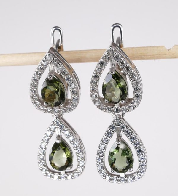 Double Pear Cut In Cubic Zirconia Sterling Silver Earrings (6.9grams) 1