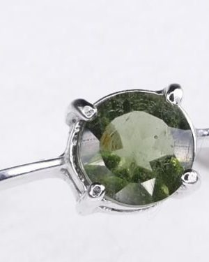 Round Shape Moldavite In Sterling Silver Ring (1.6grams) Ring Size: 56 (USA 7 3/4) 1