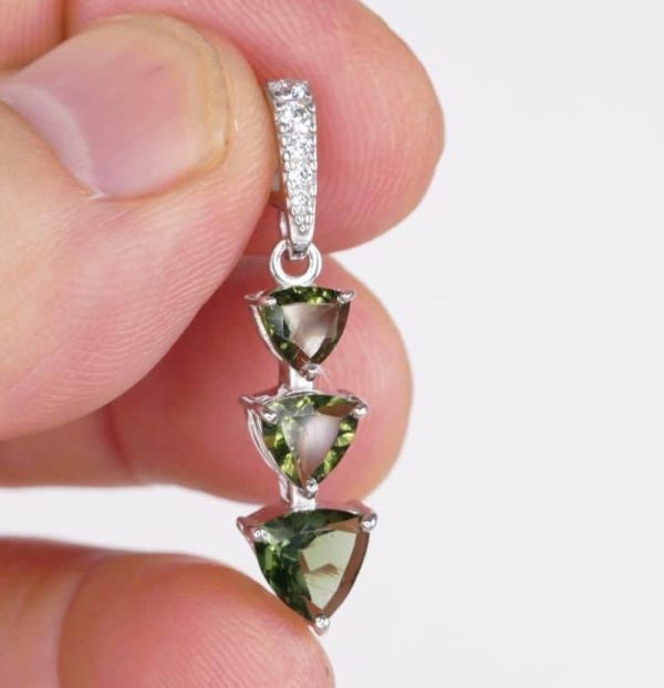 Three Trill Cut Shape Moldavite With Cubic Zirconia Sterling Silver Pendant (2.0grams) 1
