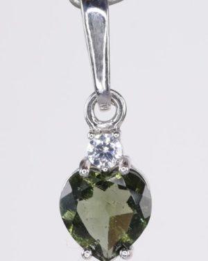 Elegant Heart Cut Moldavite With Cubic Zirconia Sterling Silver Earrings (1.2grams) 1
