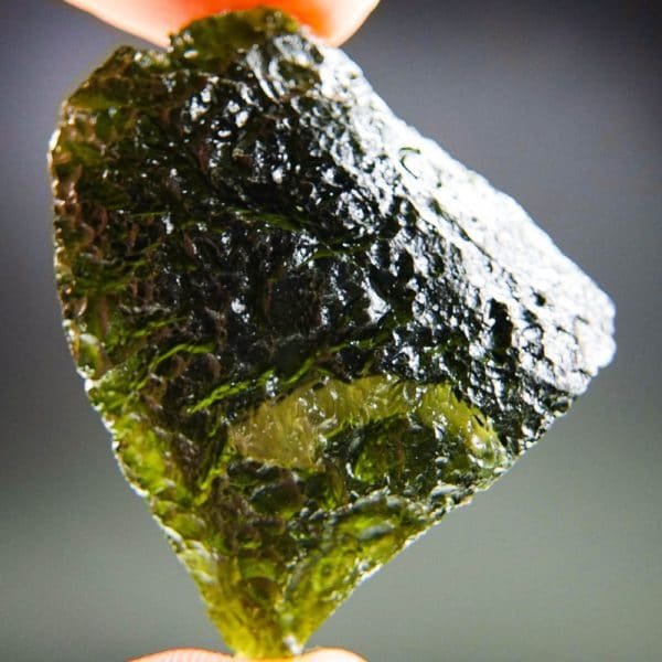 Large Glossy Open Bubble Moldavite With Certificate Of Authenticity (18.06grams) 1