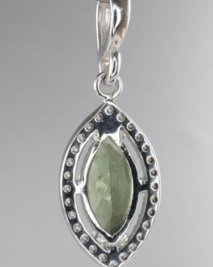 Moldavite With Cubic Zirconia Sterling Silver Pendant (2.2grams) 2