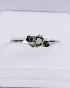 Dazzling Moldavite With Garnet In Sterling Silver Ring (1.8grams) Ring Size: 55 (USA 7.5) 2