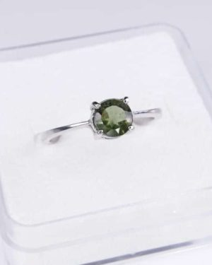 Elegant Round Shape Moldavite In Sterling Silver Ring (1.6grams) Ring Size: 58 (USA 8.5) 2