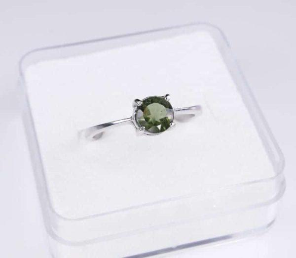 Elegant Round Shape Moldavite In Sterling Silver Ring (1.6grams) Ring Size: 58 (USA 8.5) 2