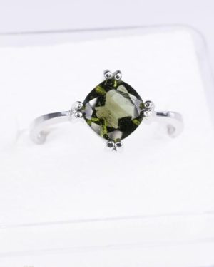 Elegant Moldavite In Sterling Silver Ring (2.6grams) Ring Size: 53 (USA 6.5) 2