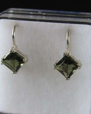 Beautiful Rare Square Shape Moldavite Sterling Silver Earrings (2.1grams) 2