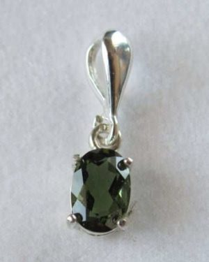 Elegant Unique Moldavite In Sterling Silver Pendant (0.8gram) 2