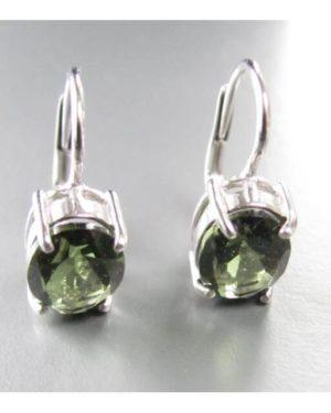 Oval Faceted Moldavite In Sterling Silver Earrings (2.4grams) 2