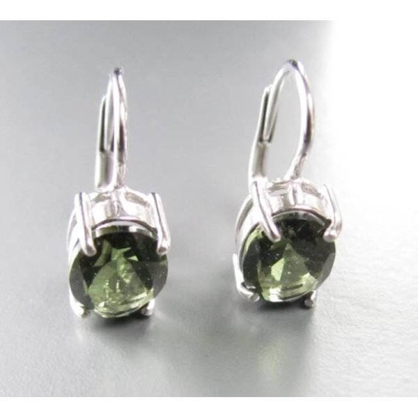 Oval Faceted Moldavite In Sterling Silver Earrings (2.4grams) 2
