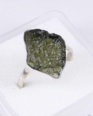 Elegant Raw Shape Moldavite In Sterling Silver Ring (3.6grams) Ring Size: 59 (USA 8 7/8) 2