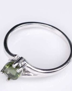 Excellent Shape Moldavite In Sterling Silver Ring (1.8grams) Ring Size: 57 (USA 8 1/4) 2