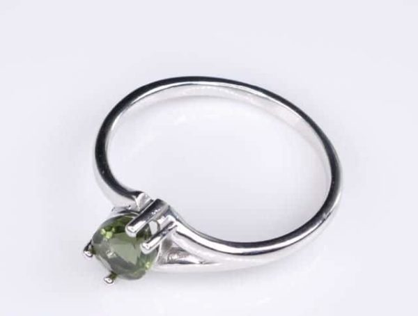 Excellent Shape Moldavite In Sterling Silver Ring (1.8grams) Ring Size: 55 (USA 7 1/2) 2