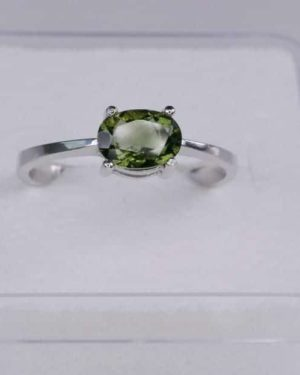 Oval Shape Moldavite In Sterling Silver Ring (1.8grams) Ring Size: 51 (USA 5 7/8) 2