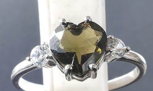 Elegant Heart Shape Moldavite In Sterling Silver Ring (2.0grams) Ring Size: 57 (USA 8 1/4) 2