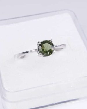 Round Shape Moldavite In Sterling Silver Ring (1.8grams) Ring Size: 60 (USA 9 3/8) 2