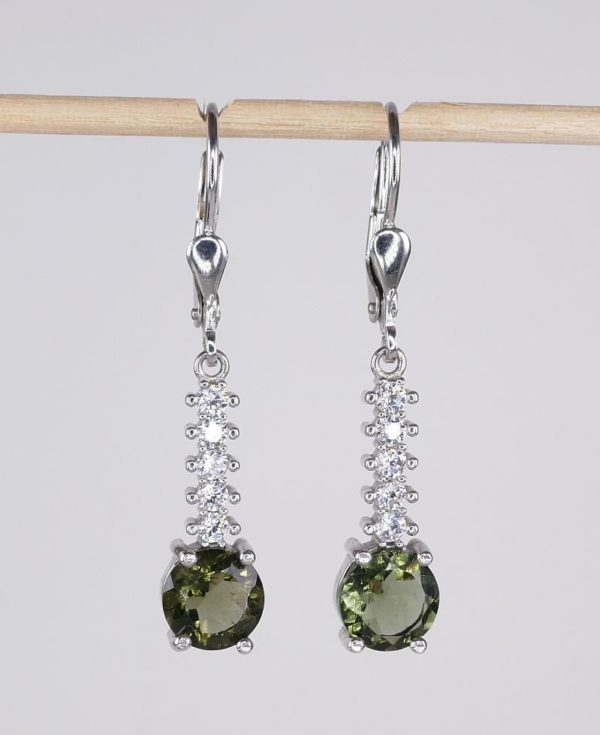 Round Cut Moldavite With Cubic Zirconia In Sterling Silver Dangle Earrings (3.4grams) 2