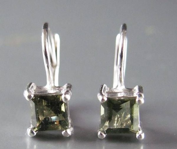 Excellent Square Moldavite In Sterling Silver Earrings (1.8grams) 2