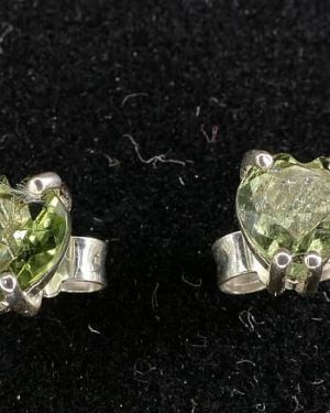 Heart Shape Moldavite In Sterling Silver Stud Earrings (0.8grams) 2