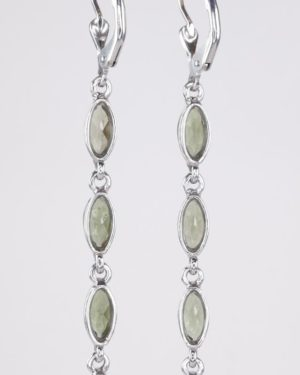 Four Beautiful Moldavite In Marquise Sterling Silver Earrings (4.0grams) 2