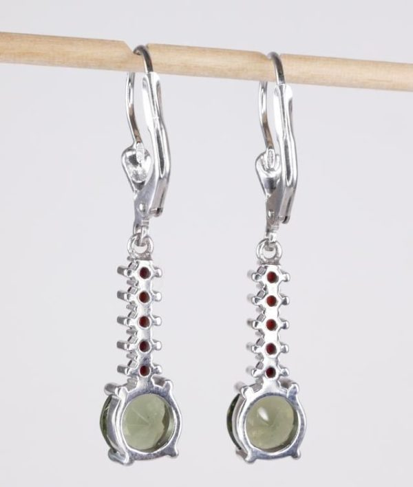 Round Cut Moldavite With Garnets Sterling Silver Earrings (3.3grams) 2