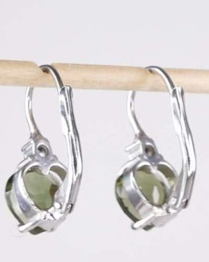 Beautiful Heart Cut Moldavite With Zirconia Sterling Silver Earrings (2.0grams) 2