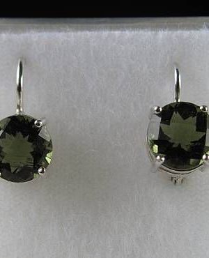 Elegant Raw Round Cut Moldavite In Sterling Silver Earrings (2.5grams) 2