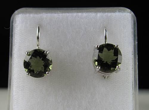 Elegant Raw Round Cut Moldavite In Sterling Silver Earrings (2.5grams) 2