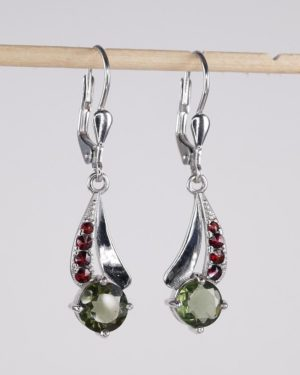 Round Cut Moldavite With Garnet Sterling Silver Earrings (3.3grams) 2