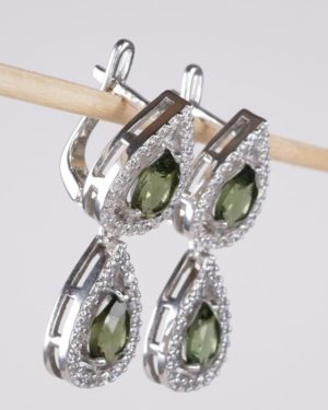 Double Pear Cut In Cubic Zirconia Sterling Silver Earrings (6.9grams) 2