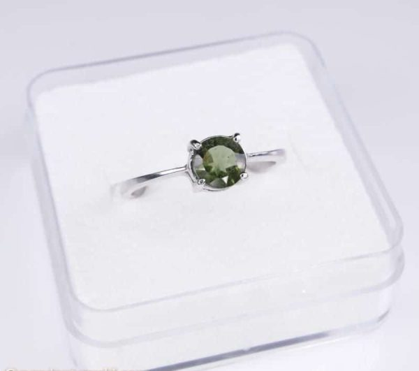 Round Shape Moldavite In Sterling Silver Ring (1.6grams) Ring Size: 56 (USA 7 3/4) 2