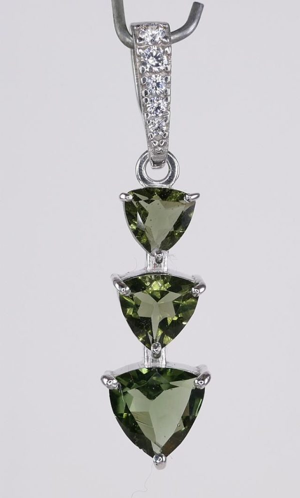 Three Trill Cut Shape Moldavite With Cubic Zirconia Sterling Silver Pendant (2.0grams) 2