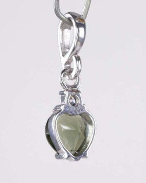 Elegant Heart Cut Moldavite With Cubic Zirconia Sterling Silver Earrings (1.2grams) 2