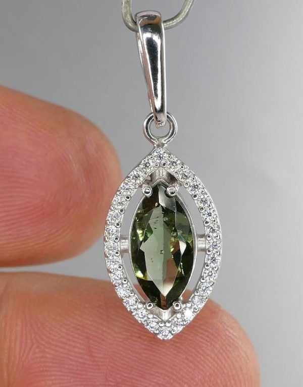 Moldavite With Cubic Zirconia Sterling Silver Pendant (2.2grams) 3