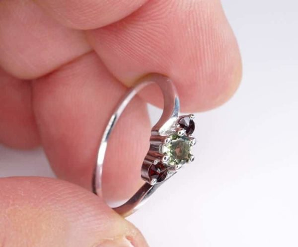 Dazzling Moldavite With Garnet In Sterling Silver Ring (1.8grams) Ring Size: 55 (USA 7.5) 3